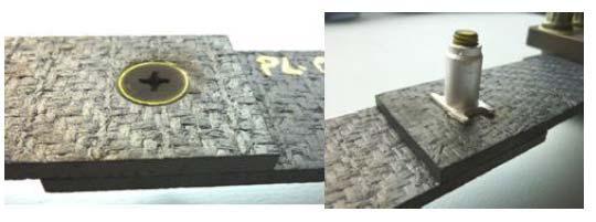 Fig. 2.II.17 - Assemblage Single-Lap Joint(SLJ) SiC/SiC 3D tissé avec bague de compensation thermique du serrage [Van15]
