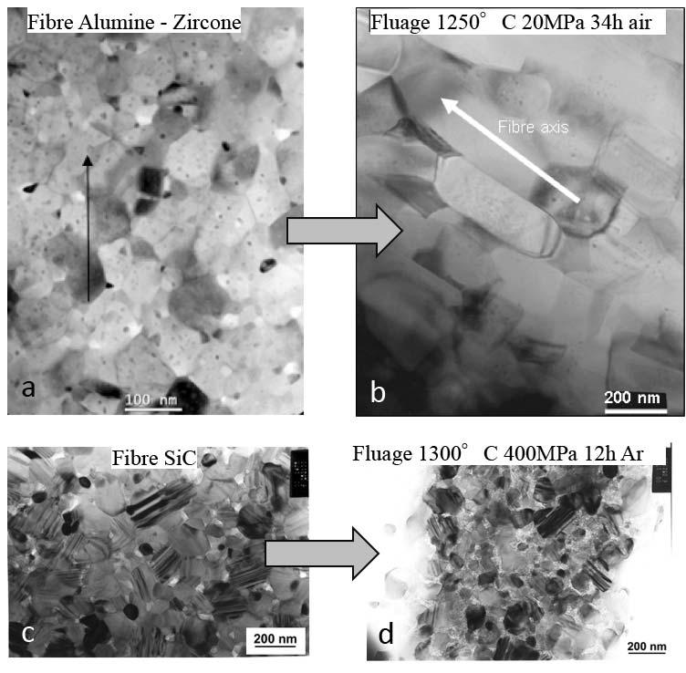 Fig. 2.II.4 - Evolution microstructurale de fibres céramiques après essais de fluage sur fibre unitaire, observée par Microscopie Electronique à Transmission [Ber11].