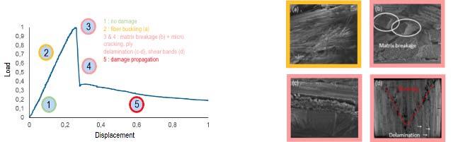 Fig. 2.II.16 - Identification des modes d'endommagement en matage pur sur CMC Ox-Ox [Bro17]
