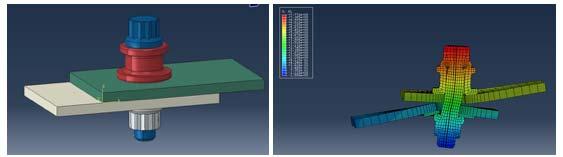 Figure 2.II.18. Modèle numérique par élément finis d'un assemblage CMC avec bague de compensation thermique du serrage