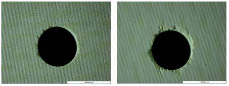 Fig. 2.II.15 - Visualisation de défauts (écaillage) en entrée (gauche) et en sortie (droite) de perçage par outil coupant sur CMC Oxyde-Oxyde tissé 2D [Rah08]